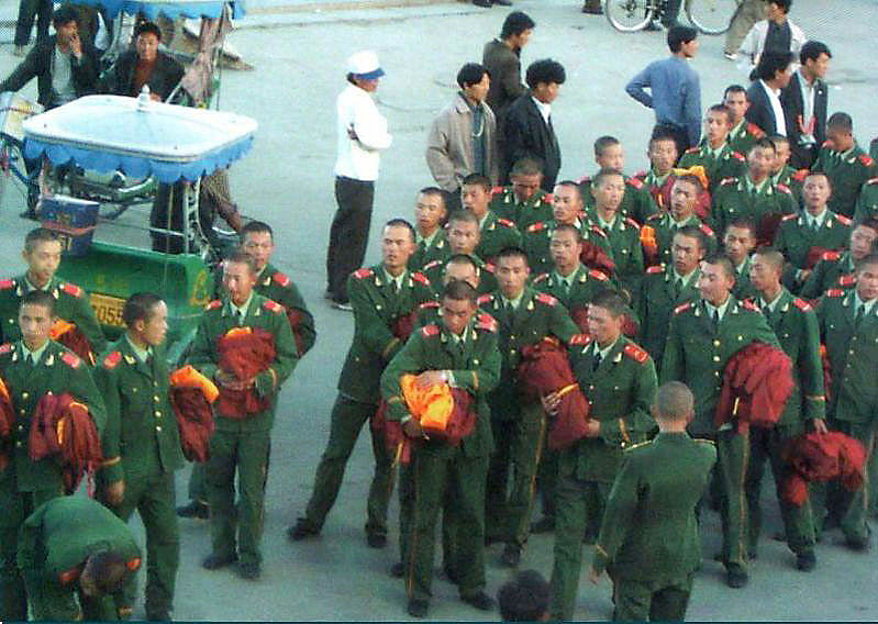 Chinese soldiers posing as Tibetan monks during the riots