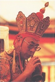 His Holiness during a Kalachakra initiation; courtesy www.snowlionpub.com